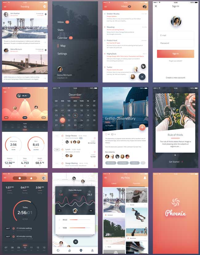 Free-Phoenix-IOS-App-UI-Kit-PSD-Screens-Preview