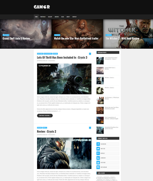 Gamer Creative Gaming Blogger Template