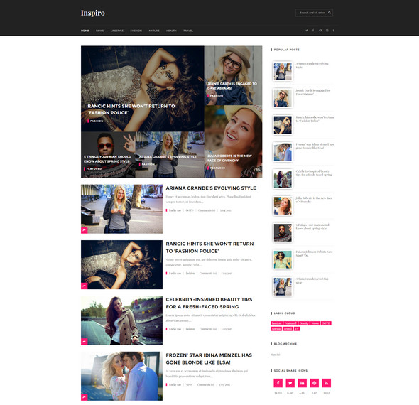 Inspiro Magazine Blogger Template