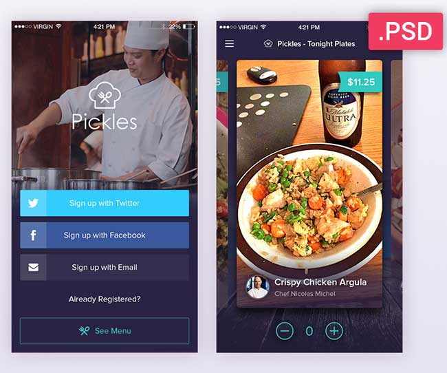 Pickles-Restaurant-PSD-App-UI-Kit