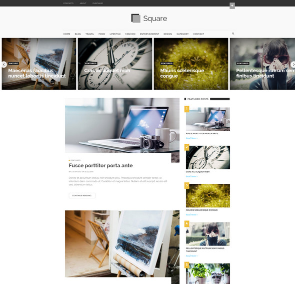 Square Modern Magazine Blogger template