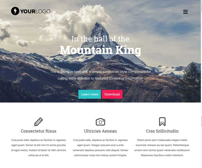 Mountain King - Free Bootstrap One Page Template | Free download