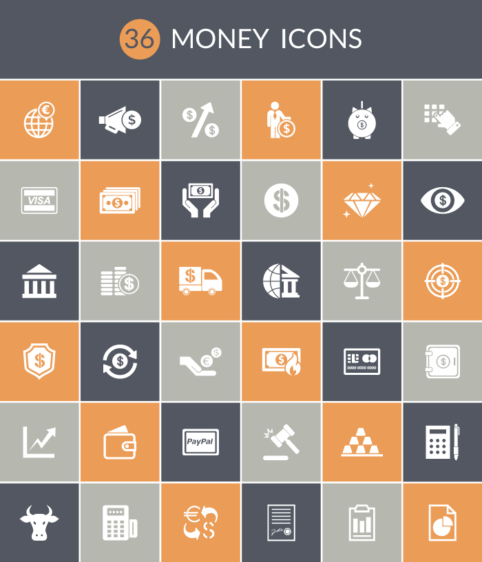 36 simple, stylish money icons