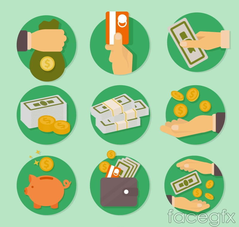 9 round monetary element icon vector