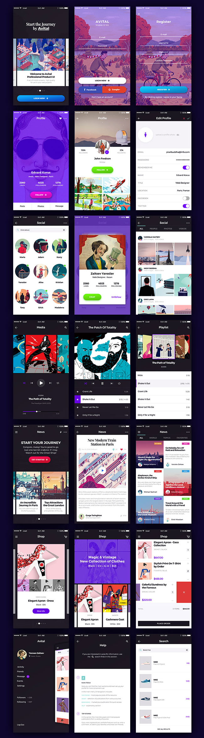 Avital-Free-Mobile-UI-Kit-PSD-and-Sketch-Preview
