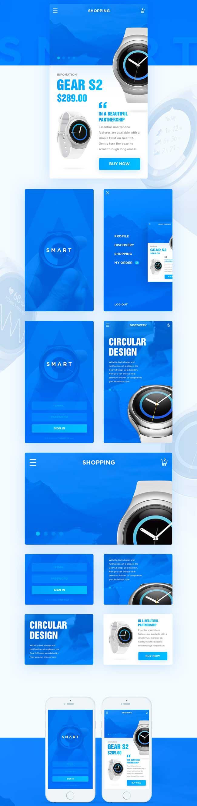 Free Smartwatch App UI PSD