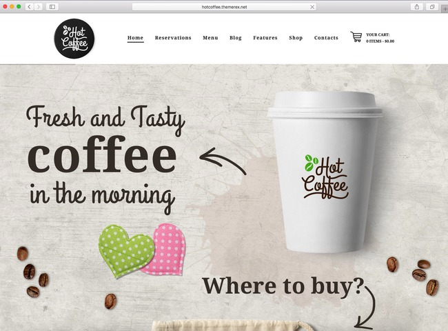 WordPress eCommerce theme 2016 for selling coffee and cake