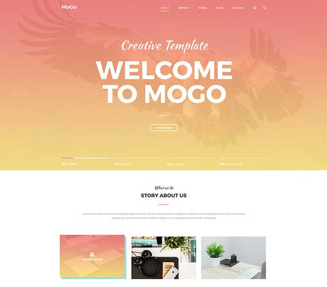 Mogo free landing page psd template free download for Free landing page templates for wordpress