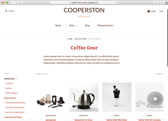 With this Shopify theme, you can easily set up and maintain a coffee shop