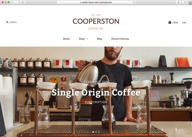 this is how your coffee shop looks like on a Shopify theme for your coffee shop