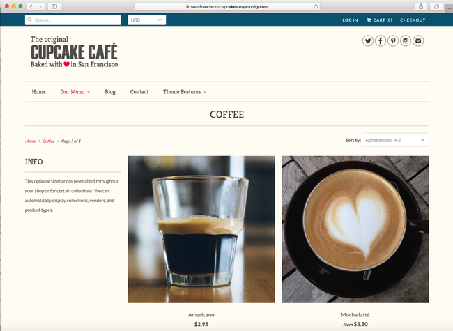 You can use Responsive to sell bakery, or other kinds of food and drinks