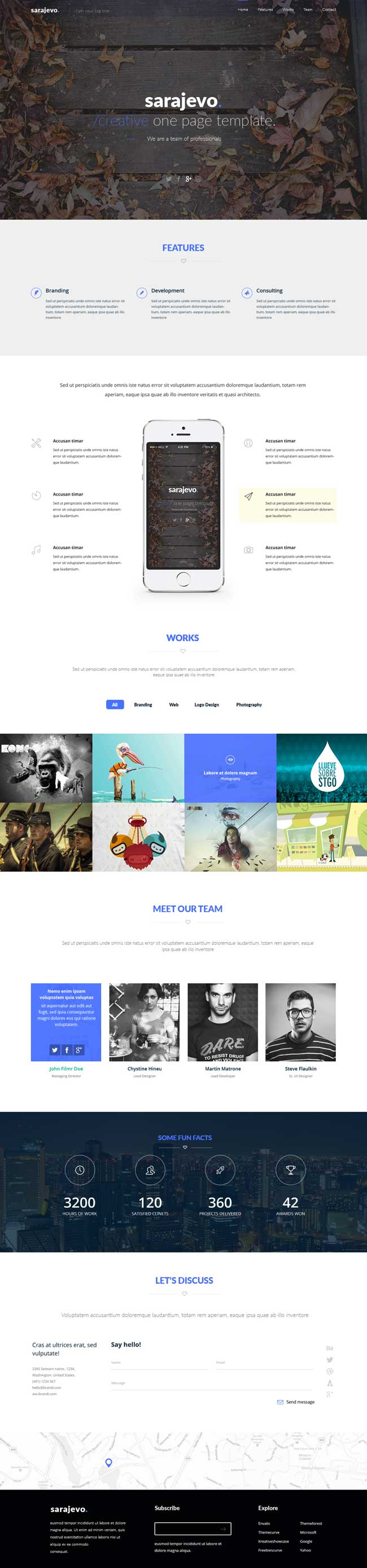 Sarajevo - Free Clean Landing Page PSD Template | Free download