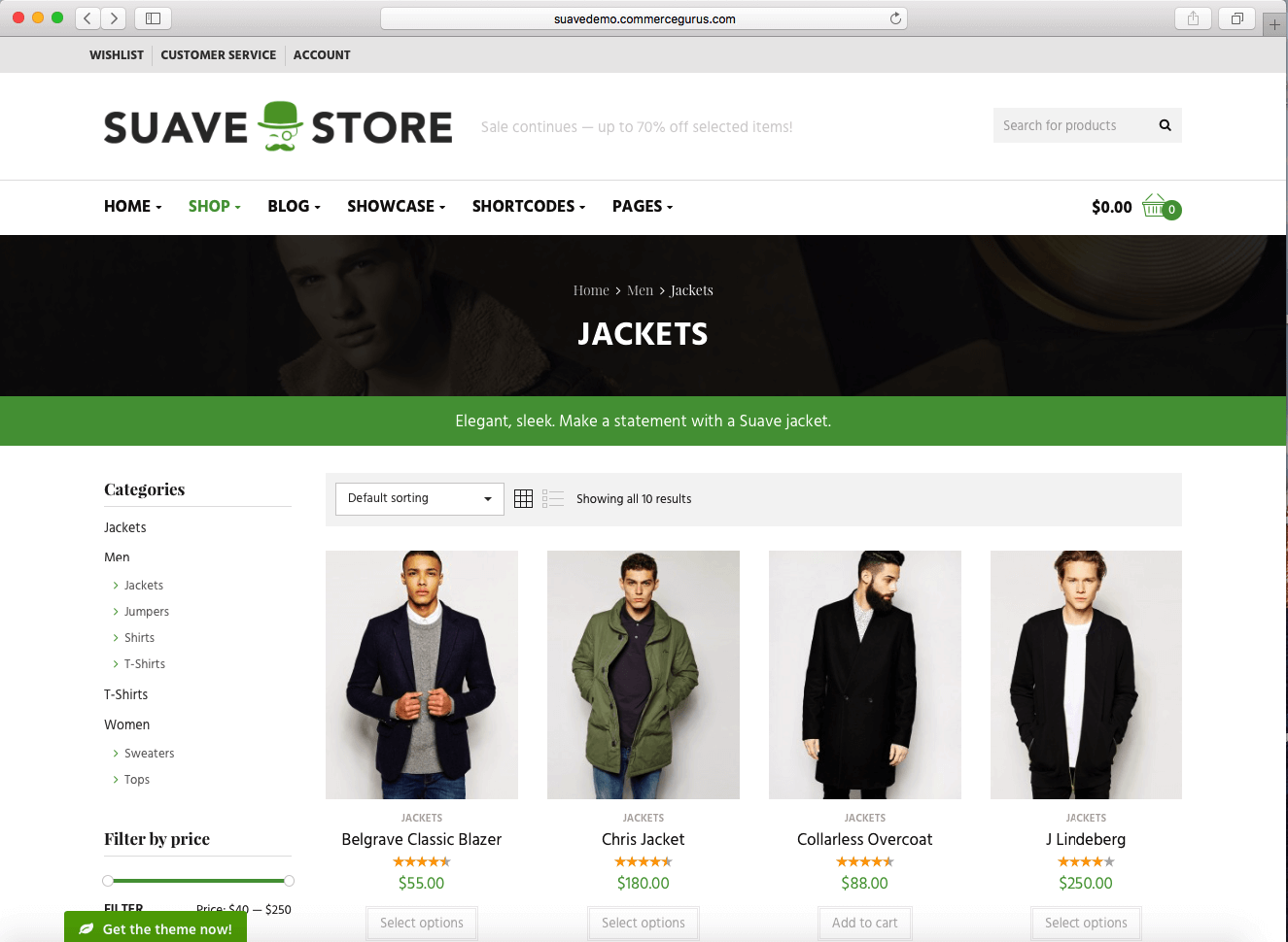 using WooCommerce 2016 to sell men's fashion products