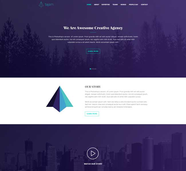 One Page Template Psd: Tajam - Free One Page PSD Template