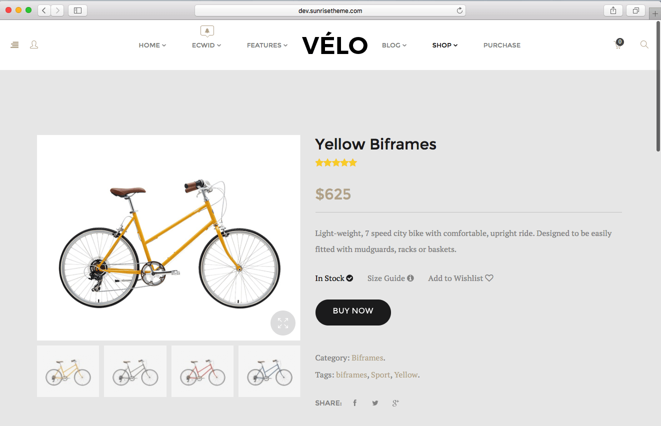 using WooCommerce theme 2016 to sell bikes