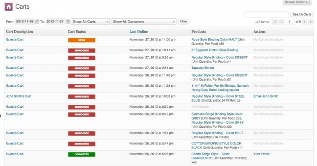 using WooThemes plugin to recover abandoned orders