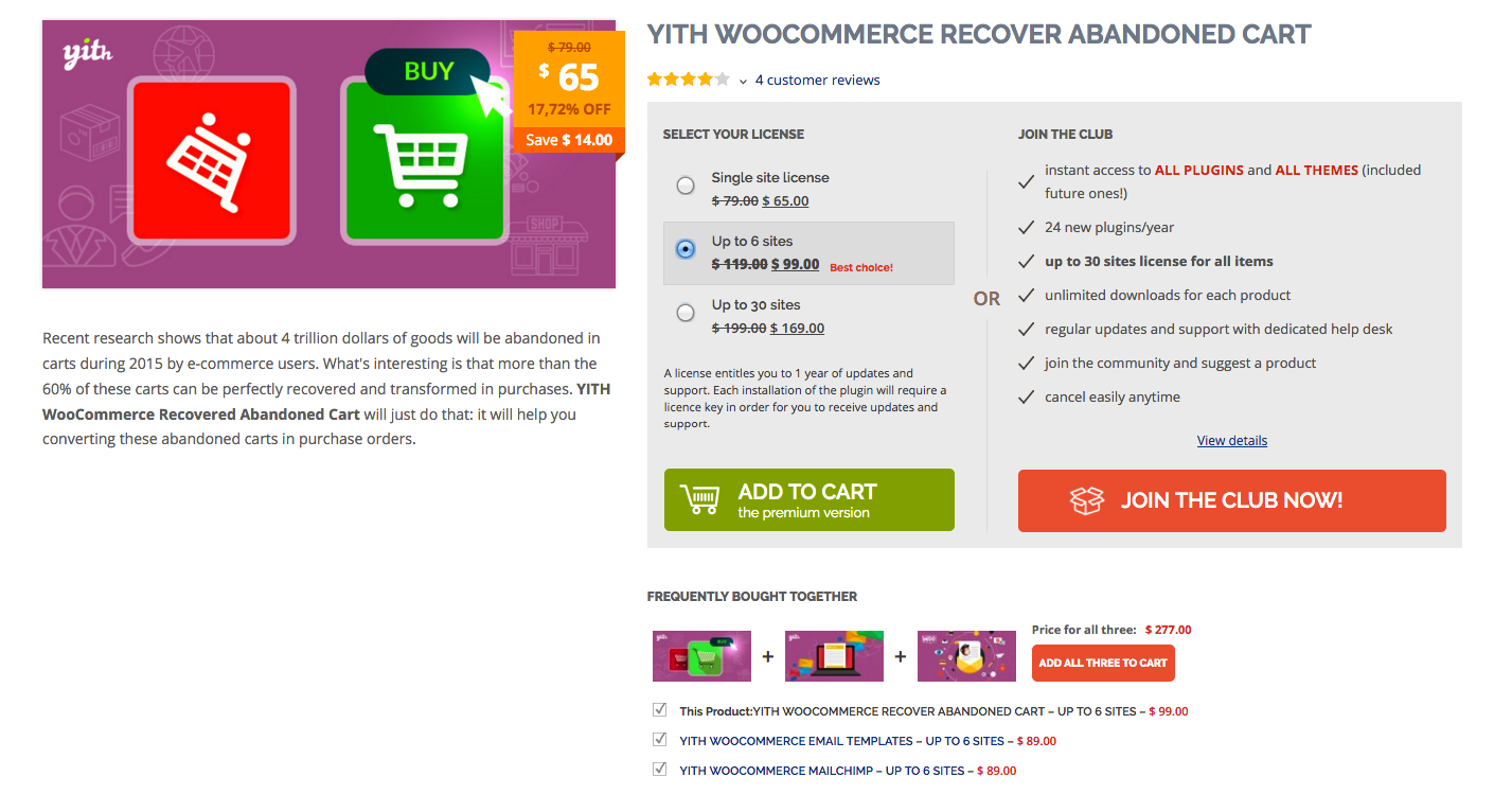 example of using WordPress plugin to recover abandoned cart