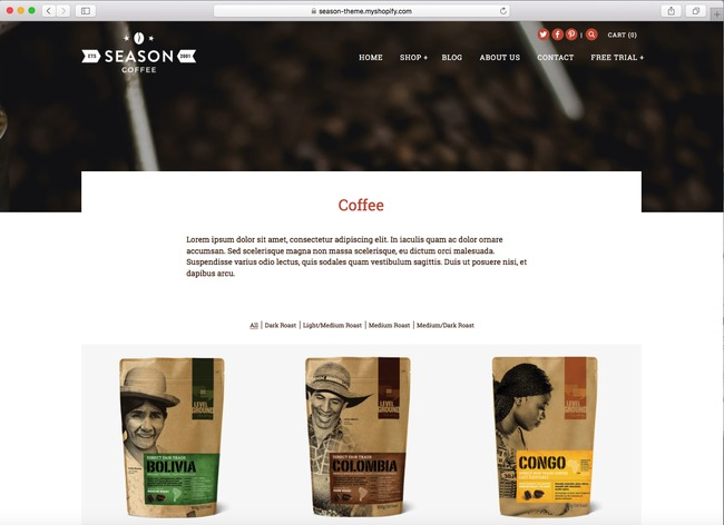 You can use Alchemy as a Shopify solution for your coffee shop