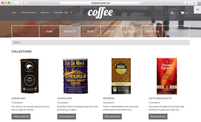 Here is your coffee category online using Shopify theme