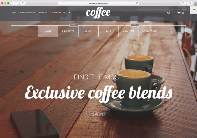 This is a niche shopify theme for coffee shop