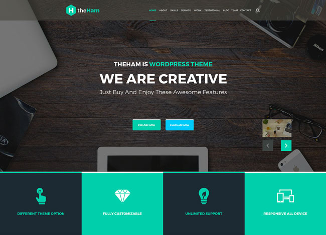 theHam - Free Creative Landing Page PSD Template | Free download