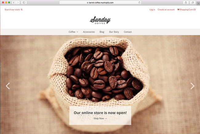This is an example of using Shopify theme for coffee shop
