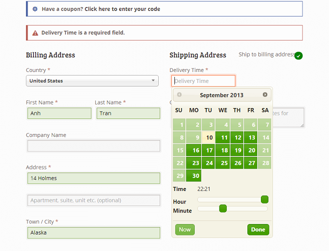 example of using delivery time picker for shipping