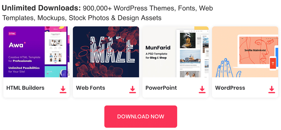 Unlimited Downloads: Wordpress Themes, Fonts, Mockups