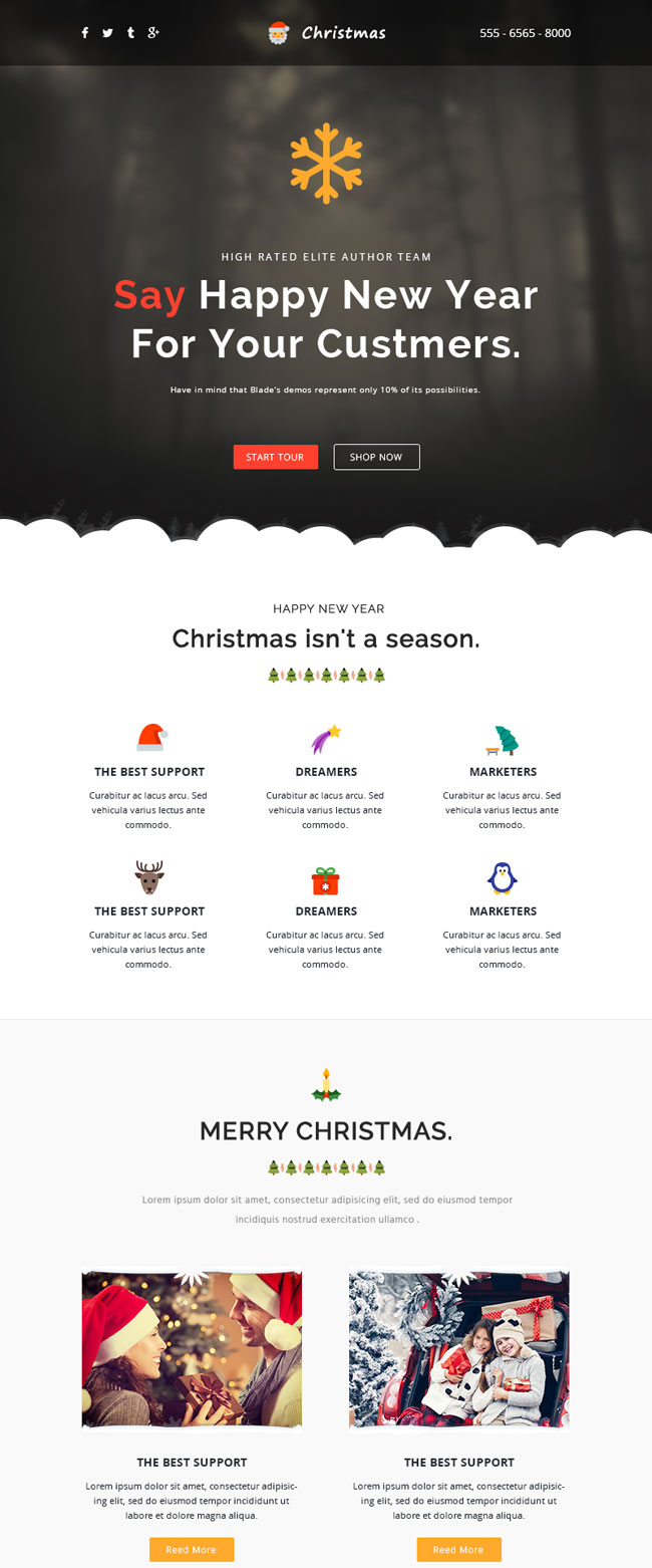 responsive christmas email template with online builder