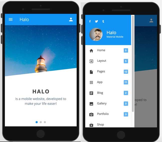 halo-material-design-mobile-template