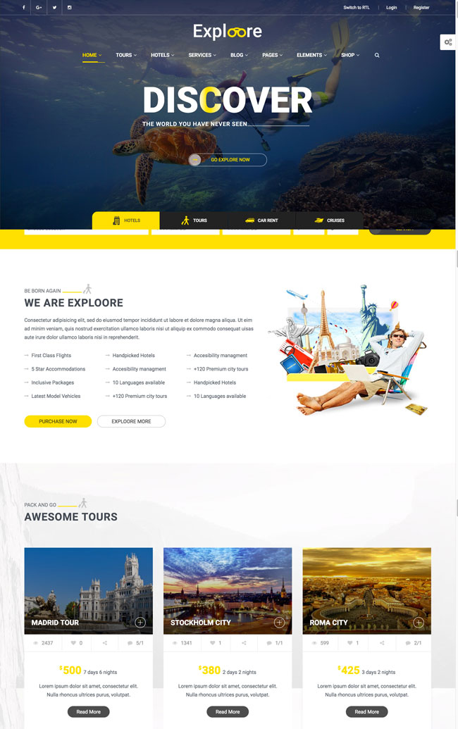 exploore-travel-exploration-booking-wordpress-theme