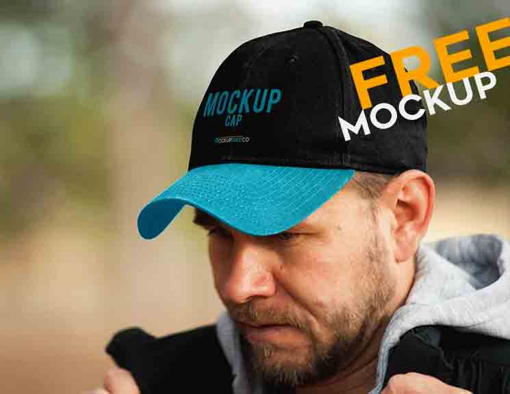 138023615cb A Free professional Cap Mockup with blue and black colors. This mock-up  include fully layered mockup in very high detailing