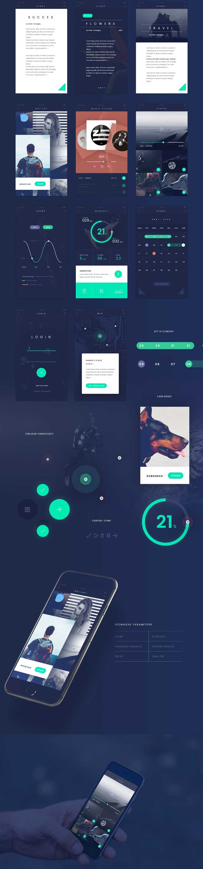 fade-free-flat-app-ui-kit-psd-preview