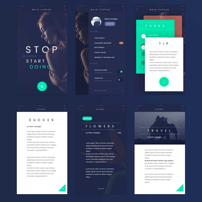 Fade Free Flat App Ui Kit Psd Free Download