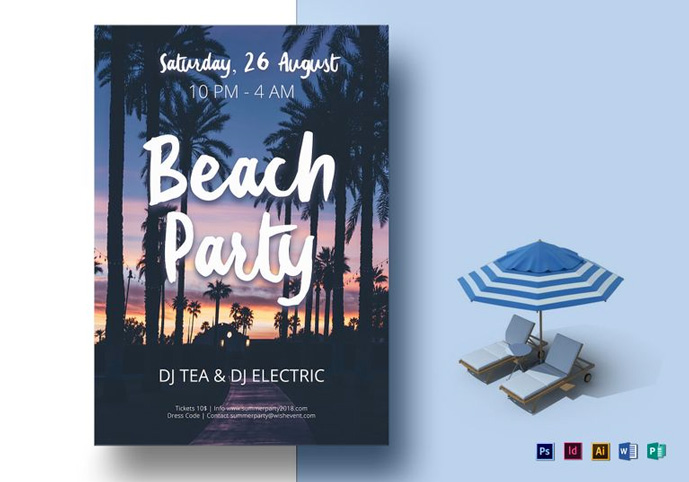 beach flyer flyer can be used to promote an electronic music event or a one night stand club summer party this flyer template is suitable for any beach