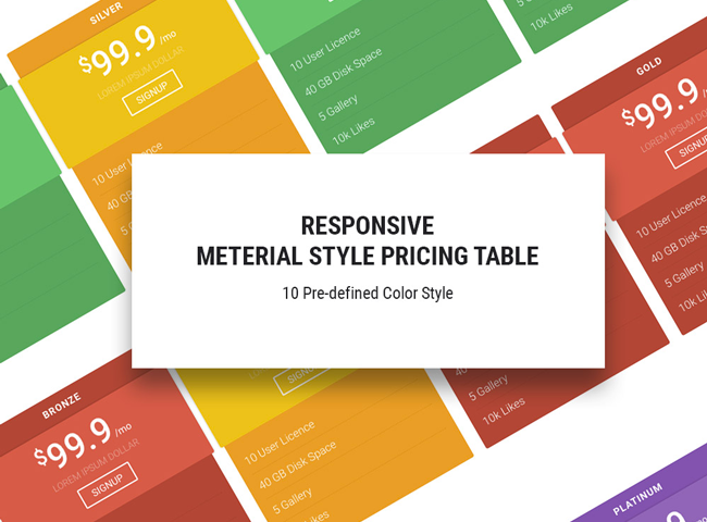 Free html5 css3 pricing table material design template for Table design templates in html