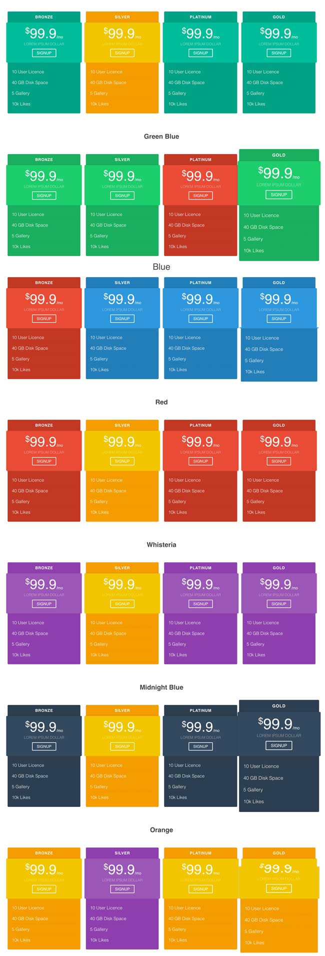 Free html5 css3 pricing table material design template for Material design table