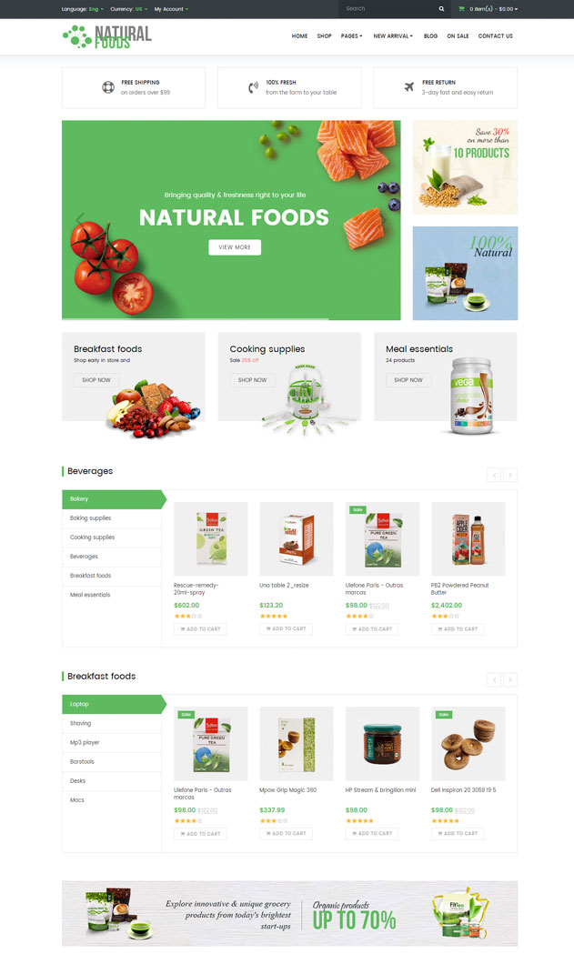 10+ Beautiful OpenCart Themes For Food and Drink Stores 2017