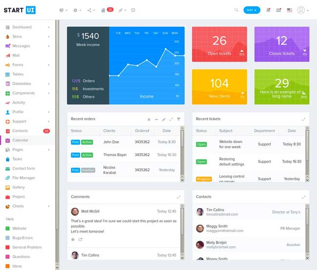 45 best responsive admin dashboard templates 2017 designmaz for Bootstrap intranet template