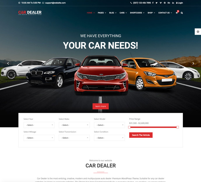 20+ Best Responsive Car Dealer, Automotive WordPress Themes 2017 ...