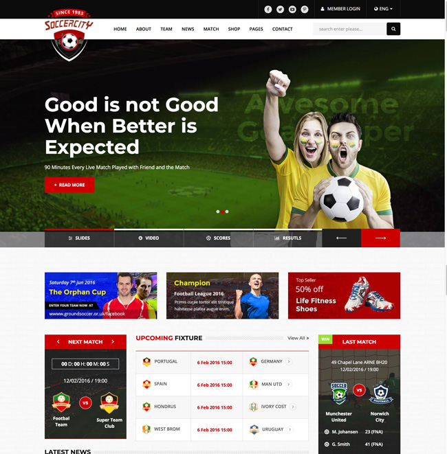 15+ Best Responsive Sports Website Templates 2018 - DesignMaz
