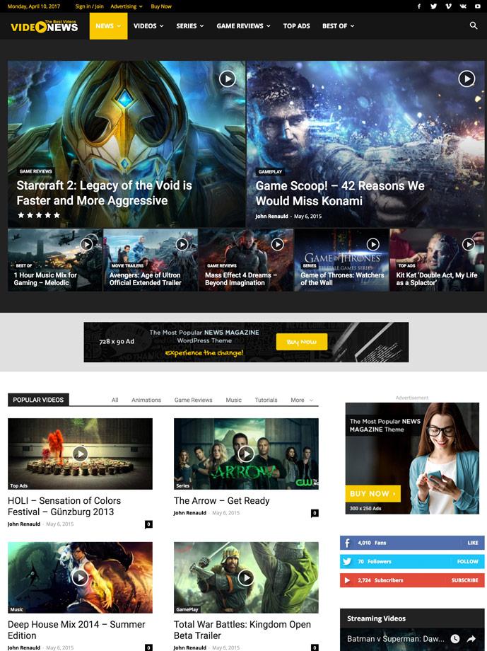 20+ Best Responsive TV, Movie and Video Blogging Wordpress Themes ...