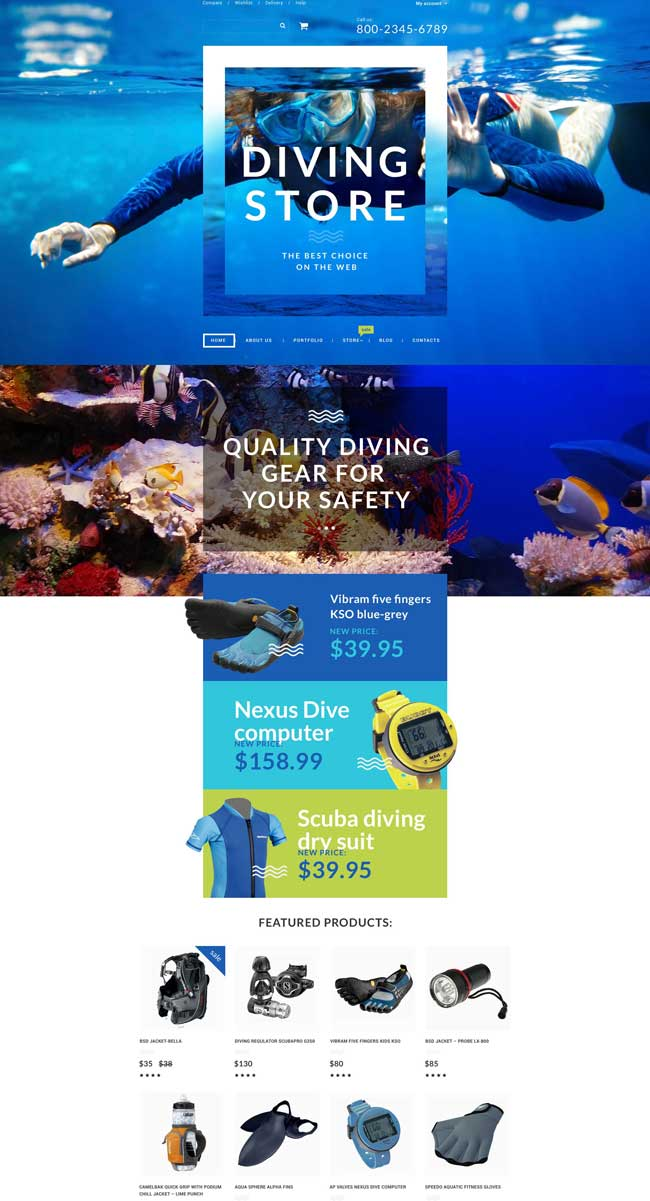 Diving WooCommerce Theme