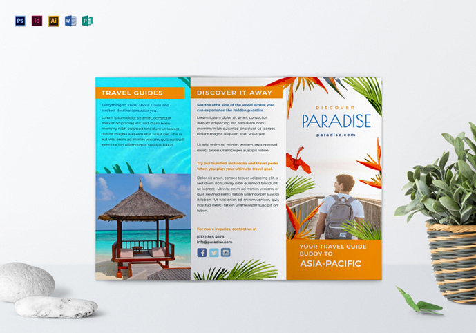 this is a simple clean and modern brochure template perfect for a wide range of leisure and travel businesses like travel agency booking service